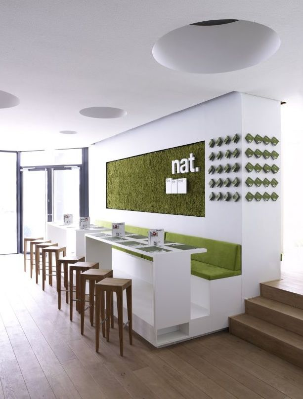 Cool Fast Food Restaurant Interior Design With Green and White Color and Wooden Floor