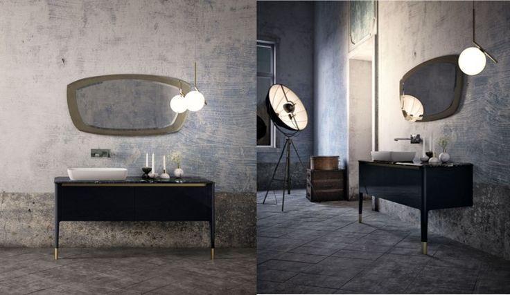 La très jolie ligne Art : des meubles fins, des finitions élégantes, un grand miroir en forme de rétroviseur.... so chic! #puntotre #art #tendanceretro #miroirretro