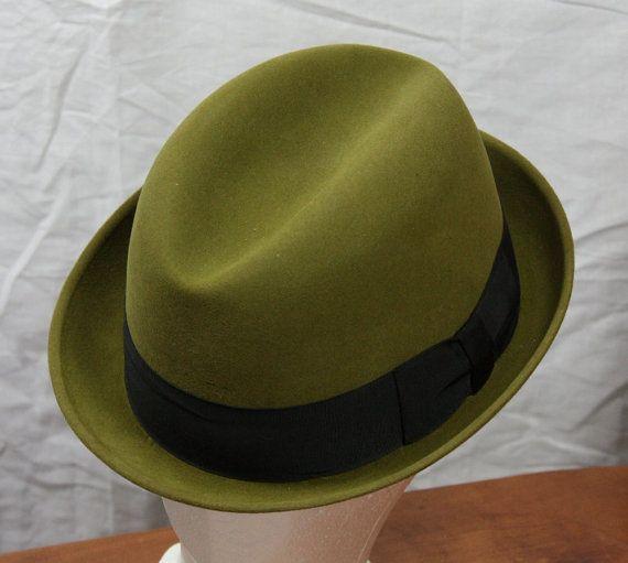 Vintage Men's Stetson Fedora Hat Olive Green by ilovevintagestuff
