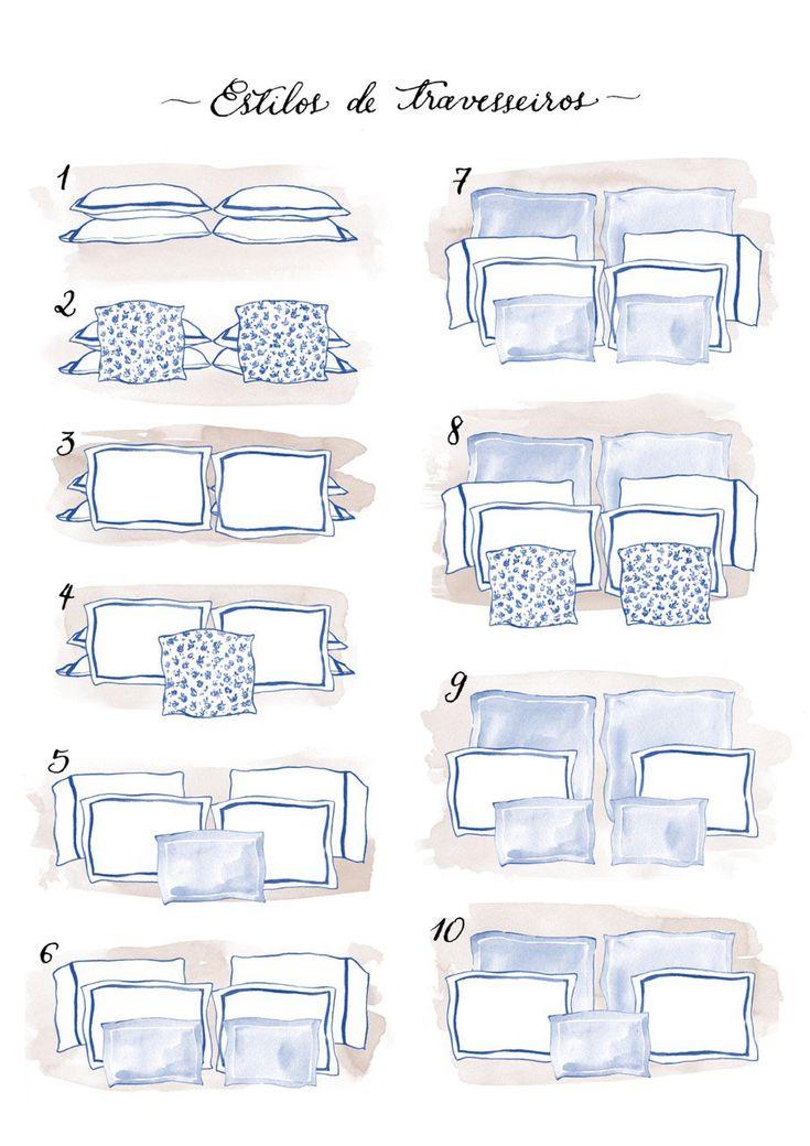 Bedroom pillow arrangements