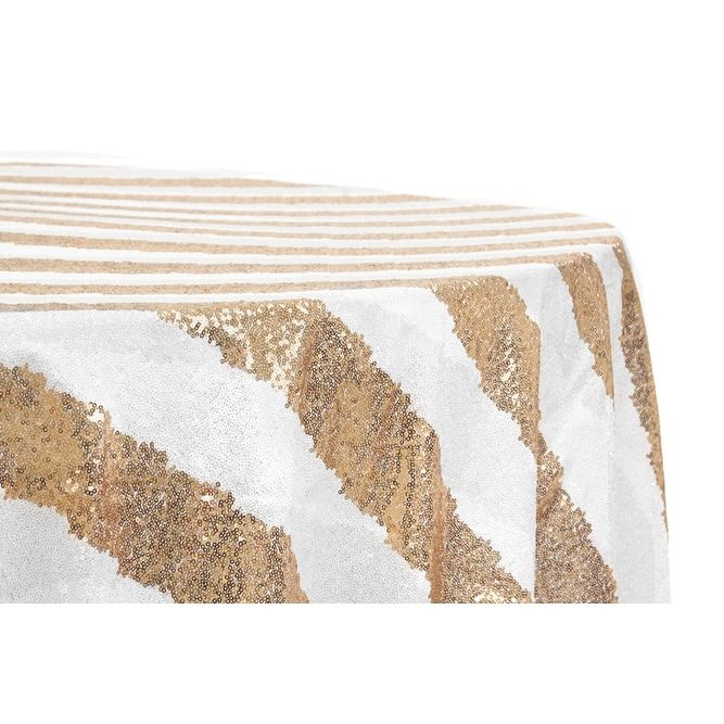 12 Pieces, Glitz Sequin 120 Round Tablecloth - Stripe Gold & White