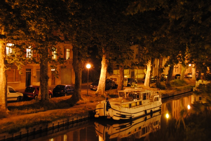 Our barge at night.