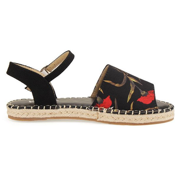 Yoins Peep Toe Espadrille Flats (1,355 DOP) ❤ liked on Polyvore featuring shoes, peep toe flats, flat pumps, peeptoe shoes, peep toe espadrilles and flat peep-toe shoes
