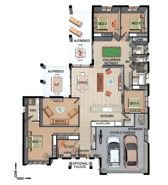 Floor plan friday entertaining with double alfresco for Home plans for entertaining