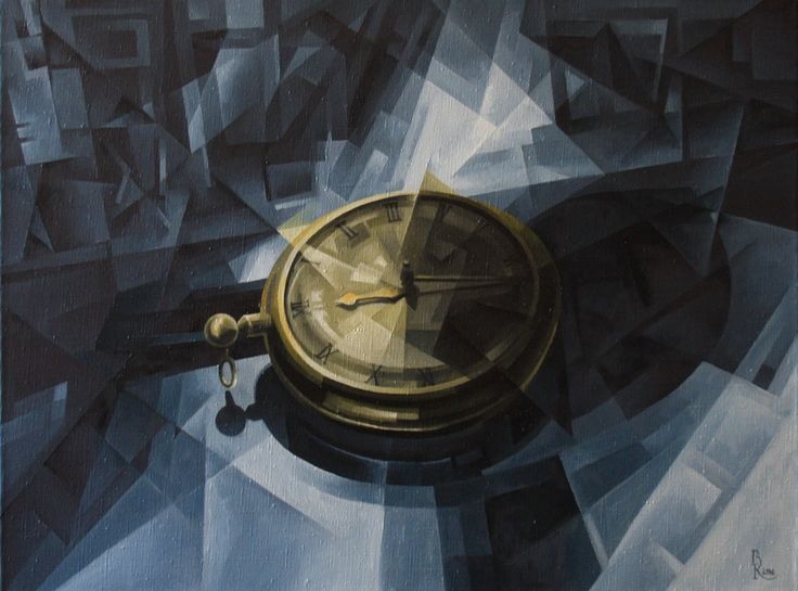 Gold over Blue. Cubo-futurism. Krotkov Vassily. 2016