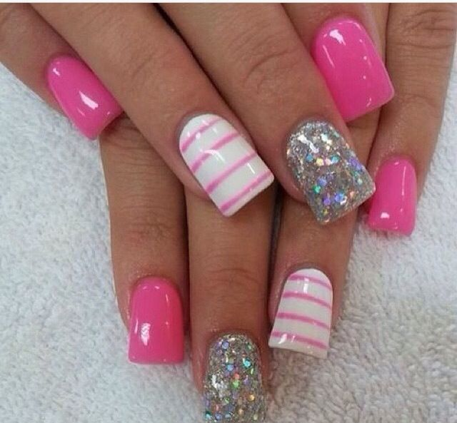 cute pink sparkly nails