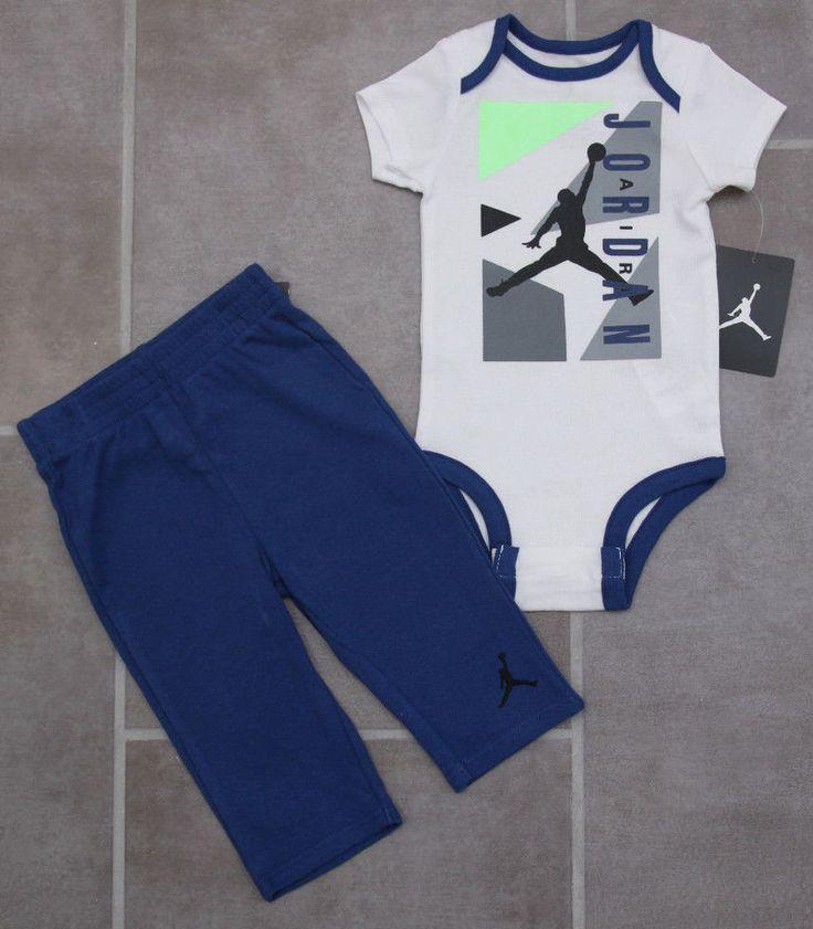... Air Jordan Baby Boy Bodysuit Pants Set ~ Blue 76f7aa025