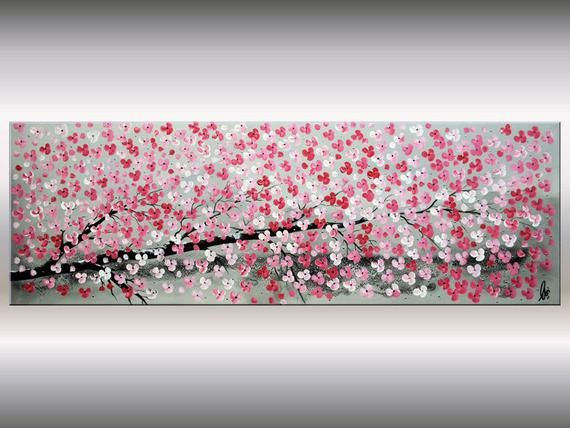 Acrylic painting, Cherry Blossoms, Gift for her