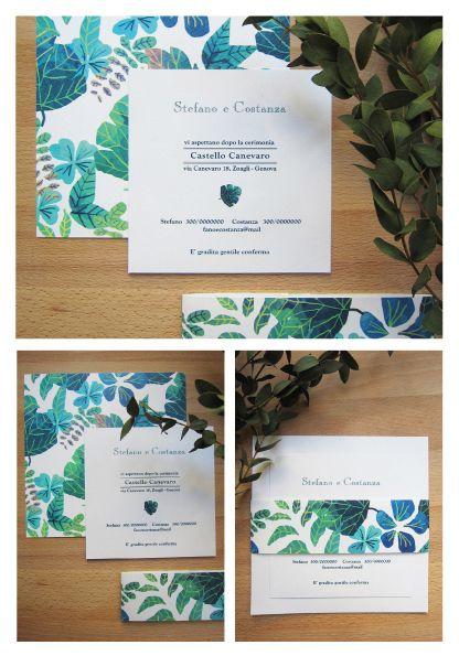Partecipazione a scheda multipla e fascetta con texture foglie
