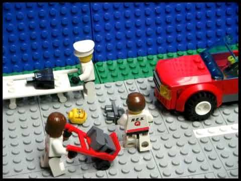 A lego man has a very bad day. I hope they can rebuild him...