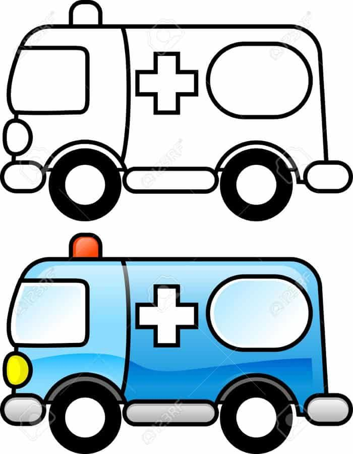 Ambulance Coloring Pages To Print | Coloring pages, Easy ...