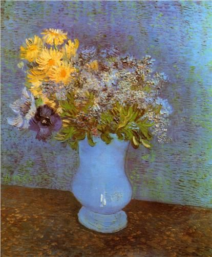 Vase with Lilacs, Daisies and Anemones 1887. Vincent van Gogh