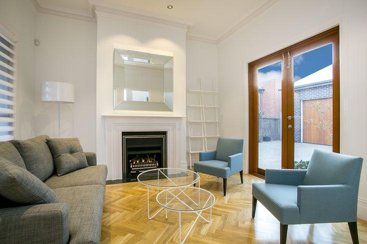 Formal living room, traditional gas fireplace - stunning parquetry flooring & cedar doors