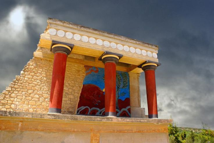Greece Crete (Knossos Palace)  Knossos what an amazing place,  the colours and paintings look so bright still.    not my  photo can't find mine .