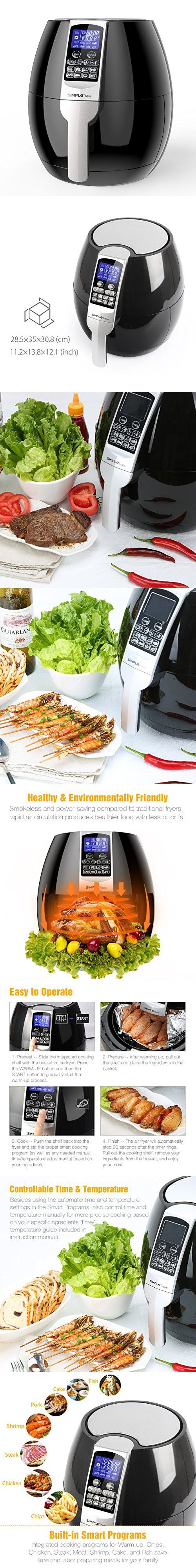 SimpleTaste 1400W Multi-function Electric Air Fryer with Rapid Air Circulation Technology, Smart Programs with Automatic and Manual Timer & Temperature Controls, 3.2 QT