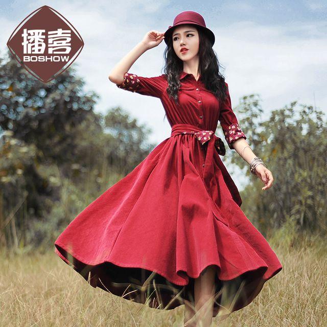 [LYNETTE 'S CHINOISERIE-BOSHOW] Design Originale Autunno della Molla delle donne di velluto a coste tipo trincea sottile del lungo-manicotto di un vestito di un pezzo