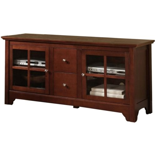 Walker Edison - 52-in. Solid Wood Console with Drawers - Walnut Brown 52'' TV Stand with Drawers in Redish Brown