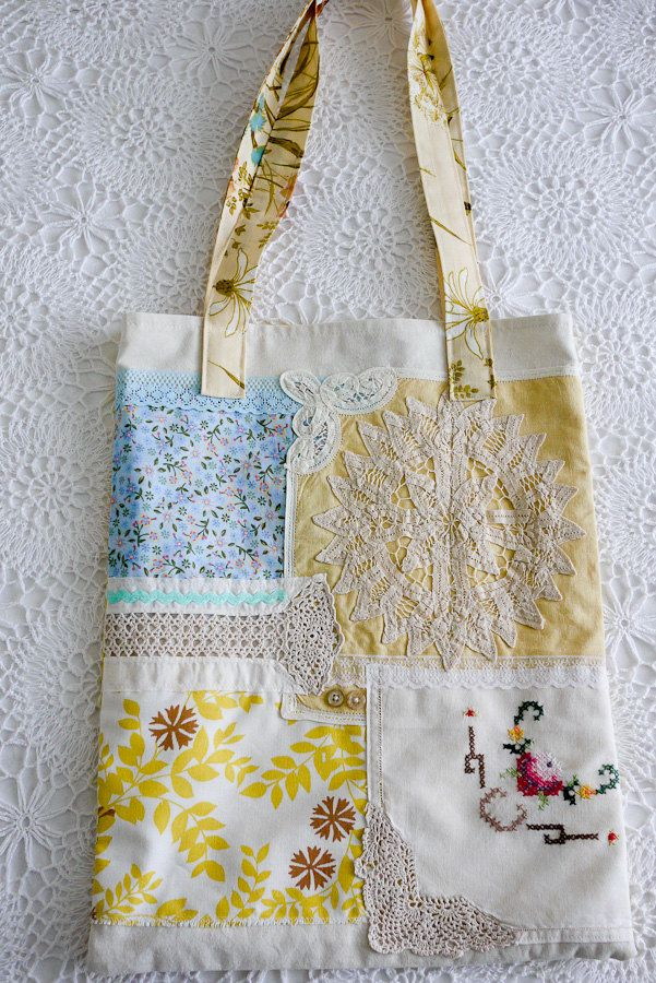 Doily and Linen Patch Market Tote Bag - Shabby Chic. $55.00, via Etsy.