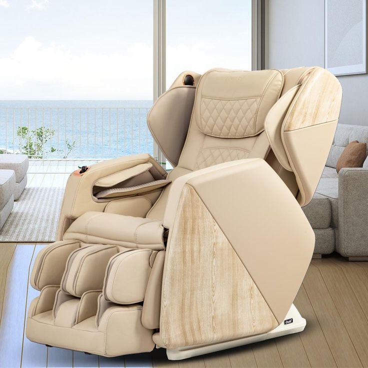 Titan Pro Series Soho Cream Faux Leather Reclining Massage