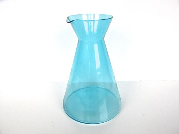 Large Vintage Modern Glass Water Pitcher, Minimalist Glass Carafe, Scandinavian Style Aqua Blue Glass Carafe Pitcher by HerVintageCrush on Etsy