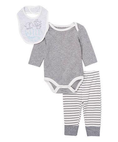 Look what I found on #zulily! Gray & White Long-Sleeve Bodysuit Set #zulilyfinds