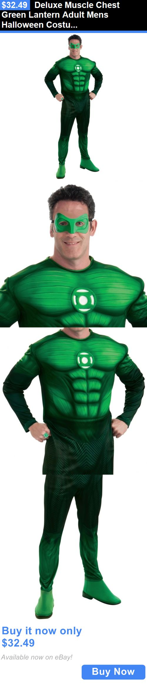 Men Costumes: Deluxe Muscle Chest Green Lantern Adult Mens Halloween Costume Std/Plus Size BUY IT NOW ONLY: $32.49
