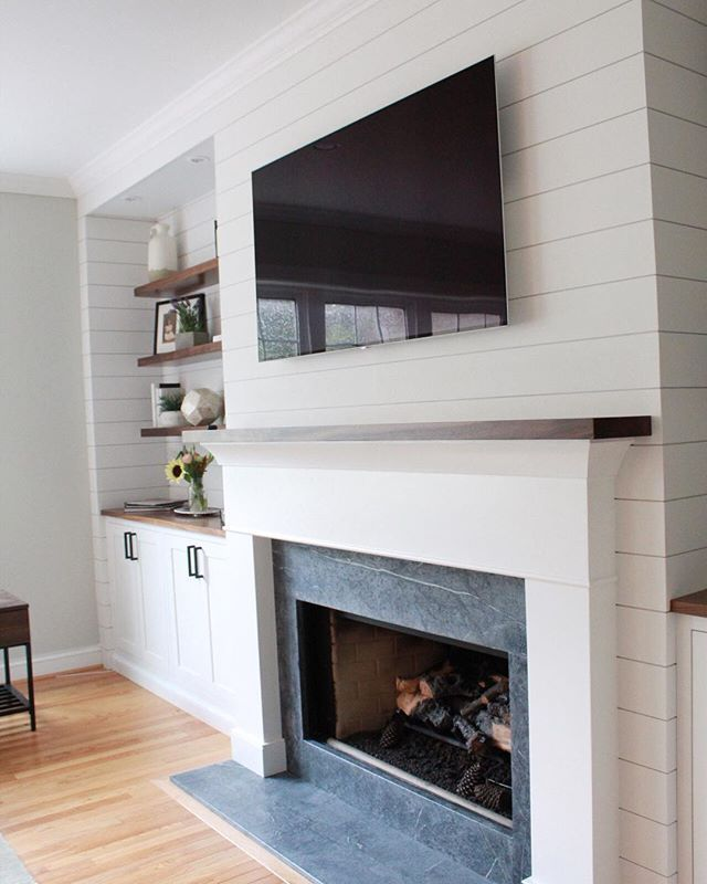 Added A Touch Of Modern Farmhouse To The Fireplace Adding Shiplap And Floating Walnut Shelves Helped Really Bring Room Together