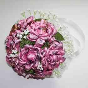 Medium Pink Snowfall Camo Rose Bridal Bouquet - Camo Wedding Bouquet