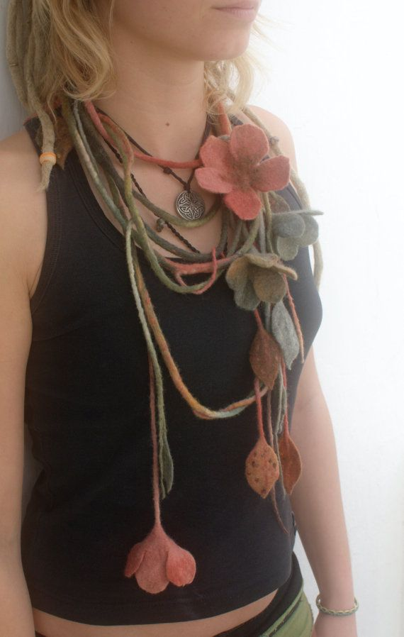 Earth toned felted flower necklace or belt by Petradi on Etsy