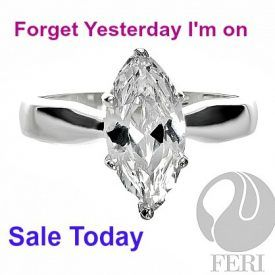 FERI Marquise Solitaire Engagement - Ring. Gorgeous .925 sterling silver ring.   extremely-affordable-luxury-engagement-rings. Save 80% off Original price Sale $50. CDN