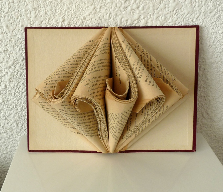 "Book Art Sculpture ""Old book"". $39.00, via Etsy."