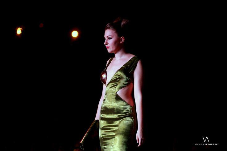 nigh dress, copper bra , green ,