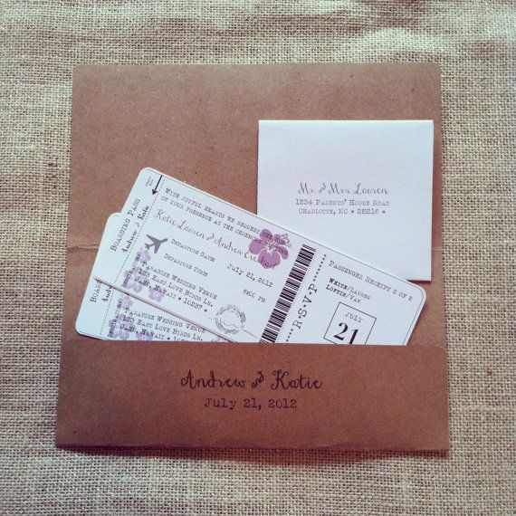 Boarding Pass Destination Wedding Invitation Set With Reply RSVP Cards and Addressed Envelopes Purple