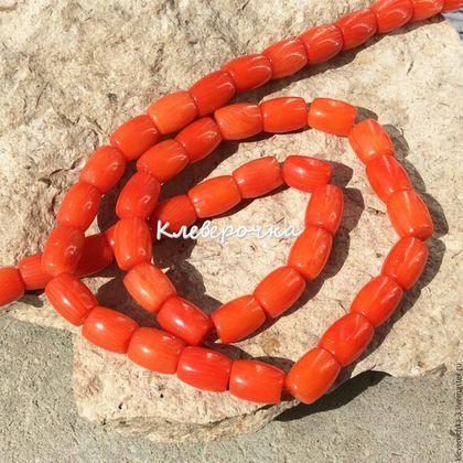 Для украшений ручной работы. Коралл 9 мм бочонок натуральный бусины для украшений. Клеверочка-бусины. Интернет-магазин Ярмарка Мастеров.