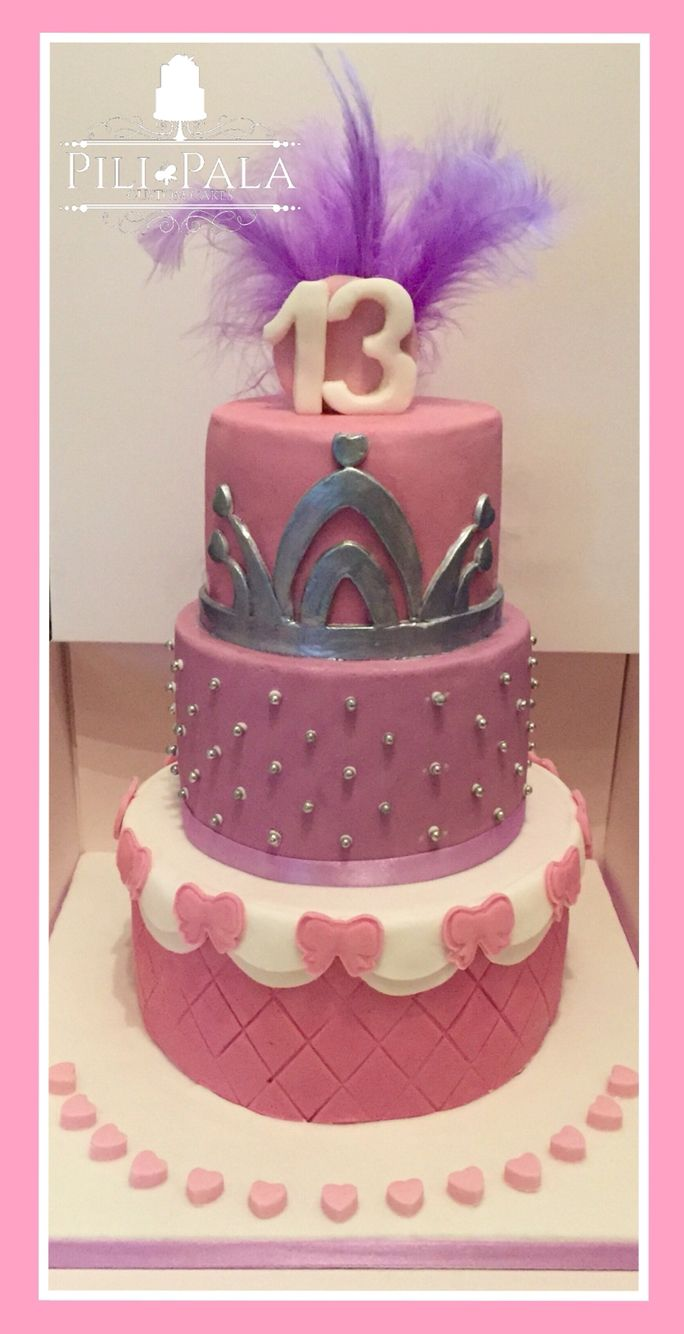 3 tier princess themed cake for a 13th birthday