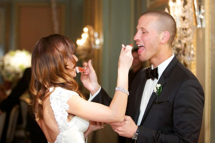 Ashley Hebert and J.P. Rosenbaum fed each other bites of cake after participating in the traditional cake cutting ceremony. #WeddingPhotography Photography: Bob & Dawn Davis Photography. Read More: http://www.insideweddings.com/weddings/ashley-hebert-and-jp-rosenbaum/438/