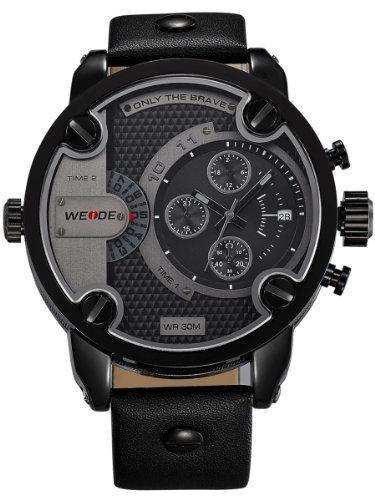 Alienwork DualTime Quarzuhr Armbanduhr Multi Zeitzonen Uhr XXL Oversized Leder schwarz schwarz OS.WH-3301-B-3 - http://uhr.haus/alienwork/alienwork-dualtime-quarzuhr-armbanduhr-multi-os