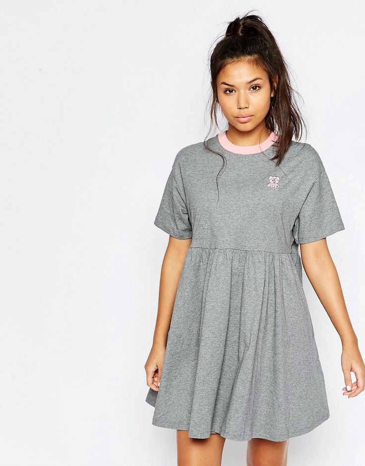 ASOS Lazy Oaf Jersey Retro T-Shirt Dress With Puppy Icon