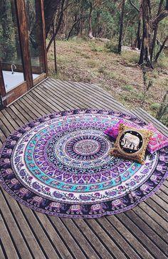 Indian Mandala Tapestries Round Beach Throw Wall Hanging Yoga Mat Boho Tapestry