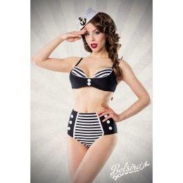 Maillot de Bain 2 pièces Bikini Rétro Pin-Up Rockabilly Rayé