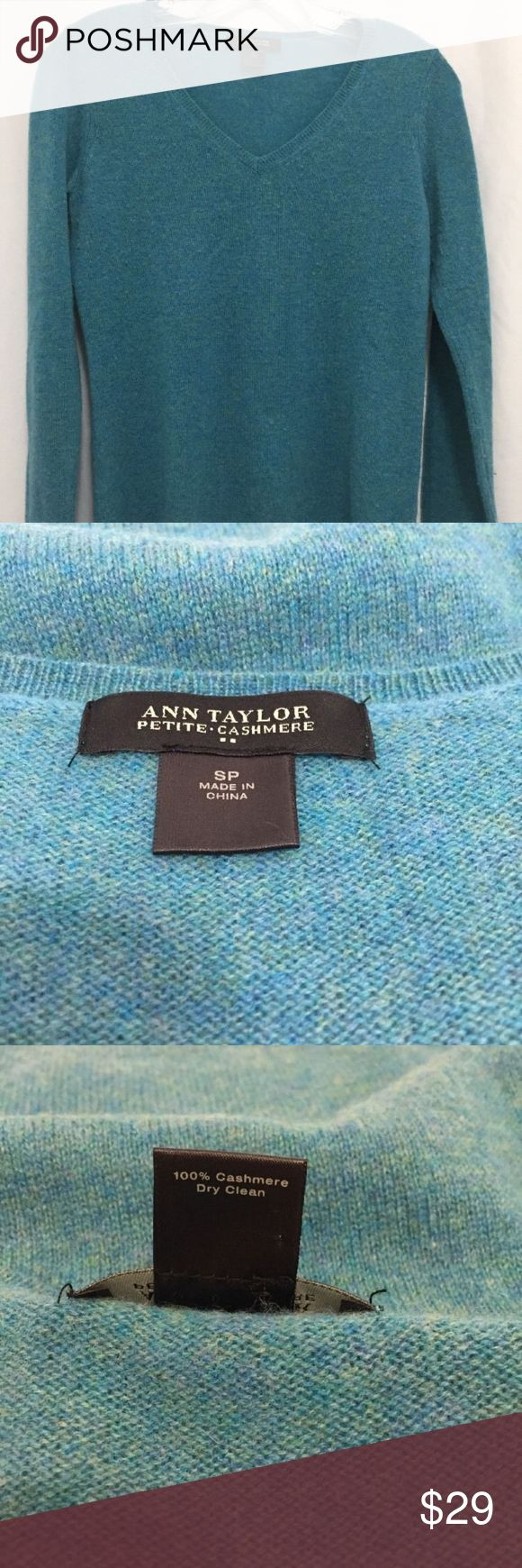 """Ann Taylor Womens Cashmere Sweater Top Type: Sweater Style: V-Neck  Brand: Ann Taylor  Material: 100% Cashmere  Color: Teal With Green  Sleeve Length: 24""""    Total Length: 24""""   Back Shoulder to Shoulder: 14"""" Bust Across: 18.5"""" Condition: Pre-owned with no stains, rips, or tears.  Country of Manufacturer: China  Inventory: 13 Thank you for looking! Ann Taylor Sweaters V-Necks"""