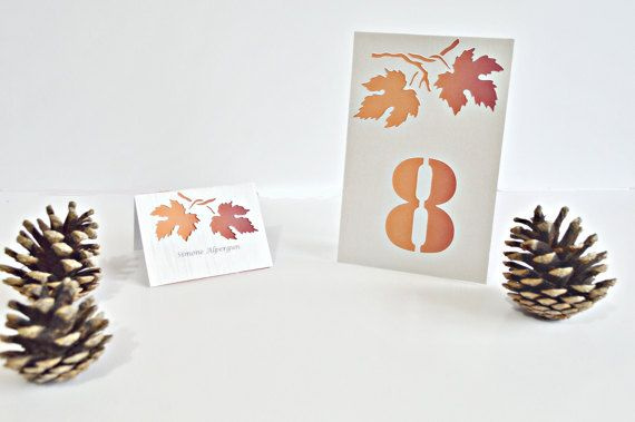 Fall wedding place cards leaves wedding by JasmineWeddingPrints
