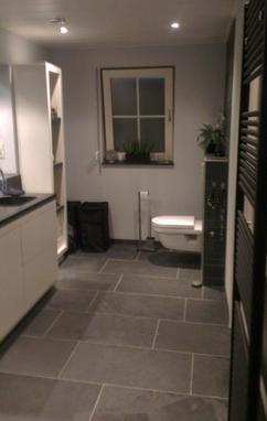 Mooie Leisteen badkamervloer: 30x60 tegels. Geleverd door Totaaltegel: Scherpe prijzen en mooie partijen!!