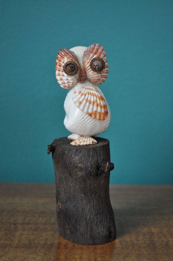 Seashell Owl by BCSeaShells on Etsy