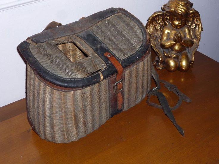 Old Vintage Antique Clean Leather Split Willow Basket Creel Trout fishing basket #Unbranded