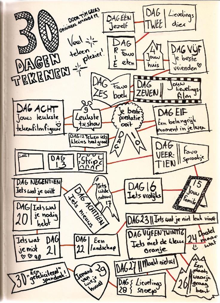 Makkelijk voor in de map, 30 ideetjes voor startopdracht tekenen. zelf laten kiezen welke opdracht ze die dag kiezen. 30dagentekenen - Meester Tim