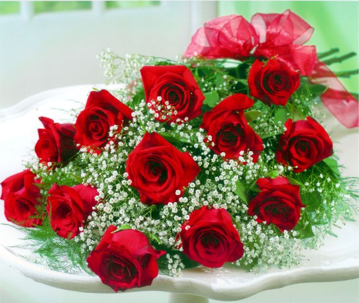 12 red rose hand tied bouquet flowers and floral art - Bouquet of red roses hd images ...