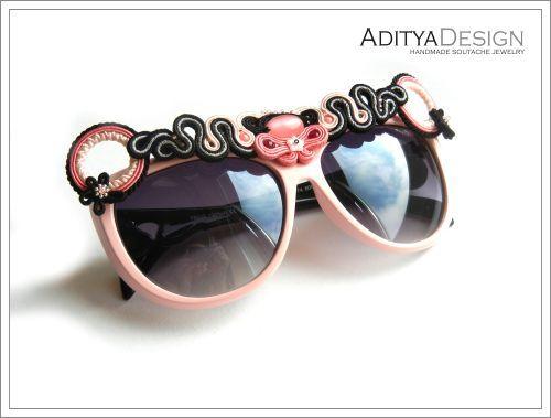 Soutache Glasses, Soutache Jewelry, Pink Black Soutache, Soutage, Little Quennie Model by AdityaDesign