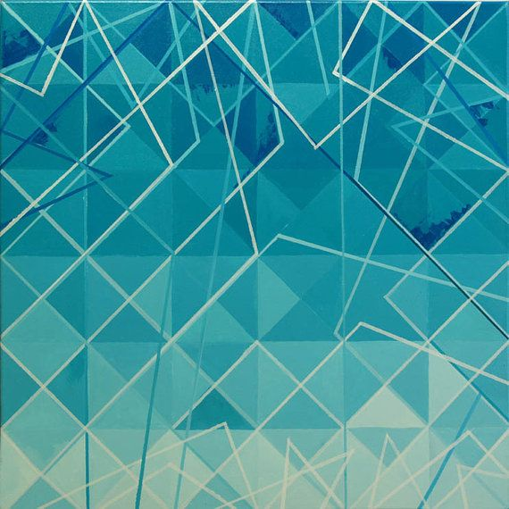 ACRYLIC PAINTING TRIGONUM 5 blue triangles by PurolDesignBags #geometric #art #painting #modern #triangle #lines #blue #marine