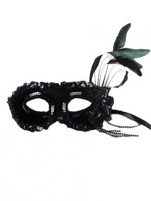 Black Velvet Roman Beauty Masquerade Mask with Feather
